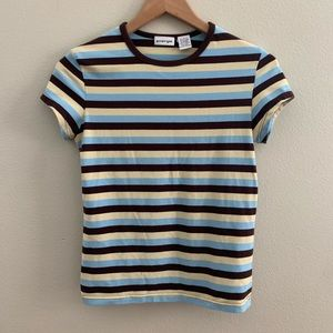 energie Striped T-shirt, Brown/Blue/Yellow, Large